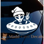 Alien Peace Sign Flying Saucer Decal