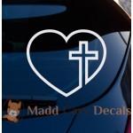 Cross Heart Christian Decal Car Laptop Graphic Sticker Window
