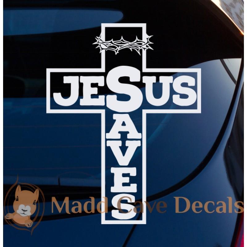 Jesus Saves Cross Crown Thorns Christian Decal