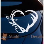 Antler Fish Hook Love Heart Decal