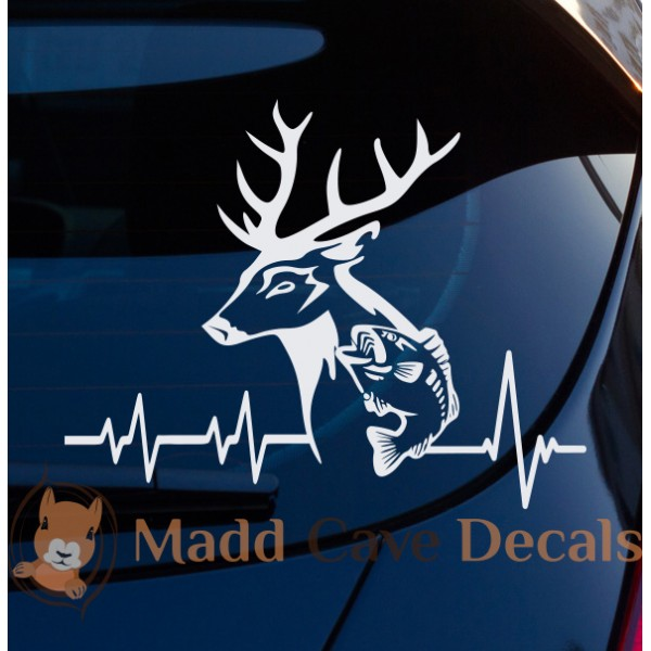 Deer Fish EKG Hunting Fishing Decal
