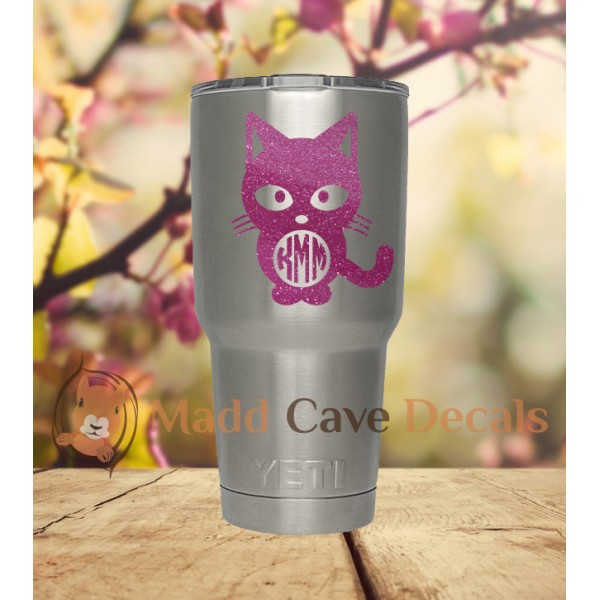 Glitter Cat Yeti Monogram Vinyl Decal