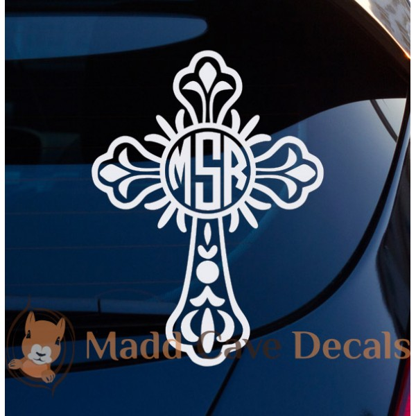 Cross Monogram Vinyl Decal Flourish Laptop Phone Tablet Tumbler