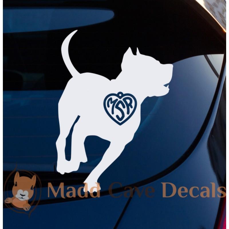 Pitbull Face in heartbeat vinyl decal window dog pet animal family