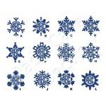 Glitter Snowflake Monogram Vinyl Decal
