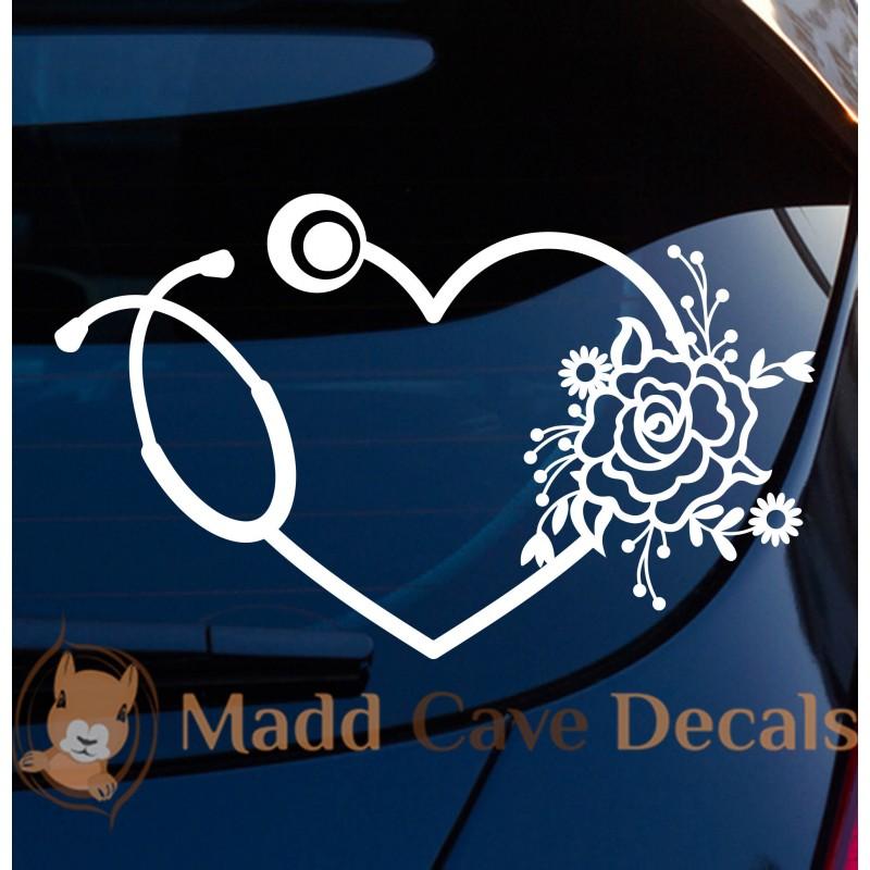 Amazon Com Decal Dan Stethoscope Doctor Nurse Heart Lifeline Vinyl Car Truck Window Laptop Decal Sticker Automotive