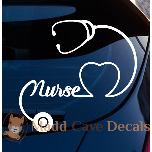 Nurse Heart Stethoscope Decal