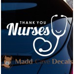 Thank You Nurses Heart Stethoscope Decal