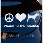 Peace Love Beagle Decal