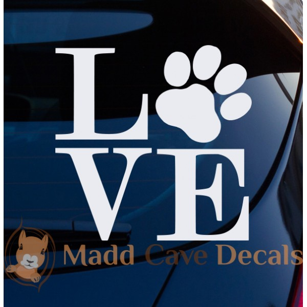 Love Dogs Paw-Print Decal