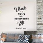 2 Corinthians 9 - Thanks Be To God - Christian Wall Decal