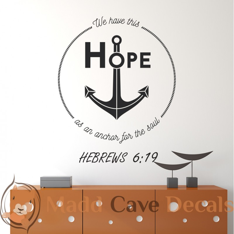 Hebrews 619 Hope For The Soul Christian Wall Decal