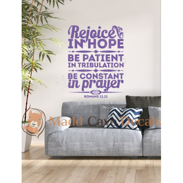 Romans 12:12 - Rejoice In Hope - Christian Wall Decal
