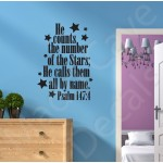 Christian Wall Decal - He Calls Them All By Name Psalm 147:4