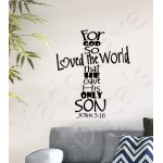 Christian Wall Decal - For God So Loved The World John 3:16