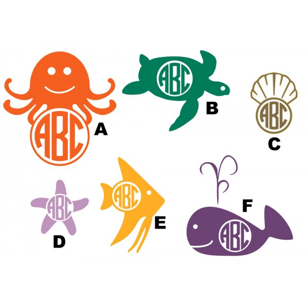 Wall Decal  - Monogrammed Marine Life
