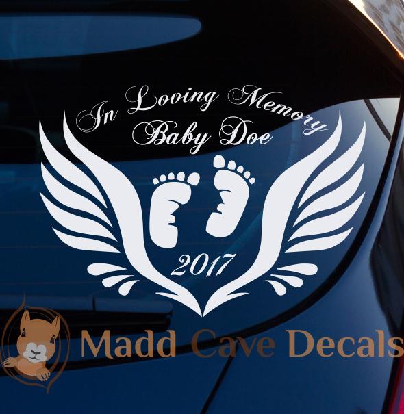 In Loving Memory Of Mom Rose Large Decal Window Sticker Custom Memorial