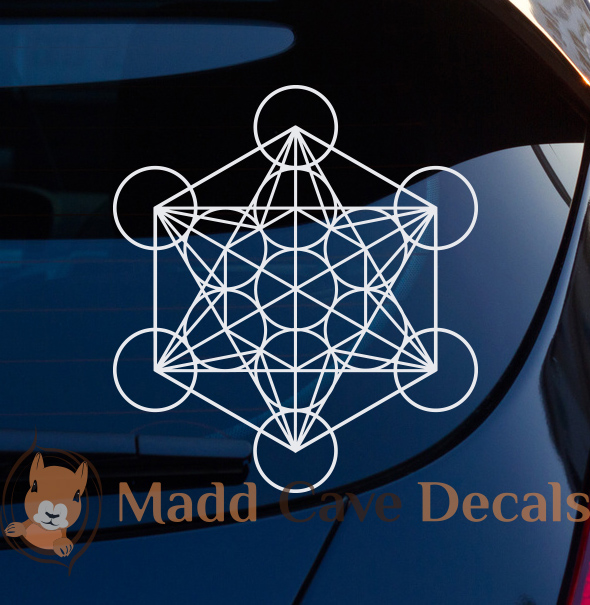 Large 11.5 Size Metatron/'s Cube Window Decal Sticker Prismatic Rainbow Gold or Silver Vinyl
