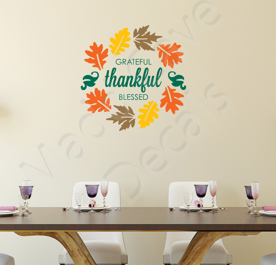 Grateful Thankful Blessed Fall Autumn Wall Decal